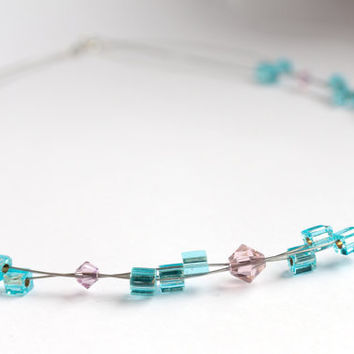 Pink necklace, Blue necklace, Multi wire necklace, Swarovski crystal necklace