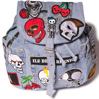 Kittiya Naranong Skull Ride Satchel Bag Denim One
