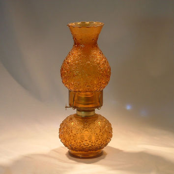Vintage Amber Colored Pressed Pattern Glass Hurricane Oil Lamp