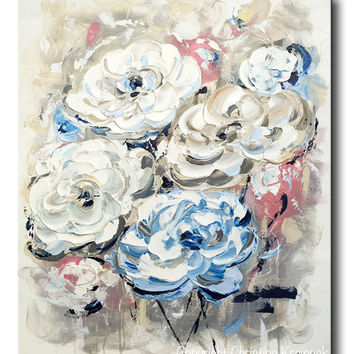 ORIGINAL Art Abstract Painting Flowers White Blue Grey Vintage Floral Textured Wall Art Peonies