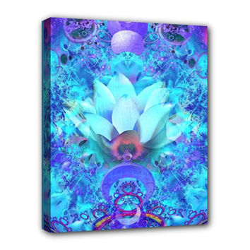 Rorschach Lotus Fractal stretched canvas-Sacred Geometry 20x16