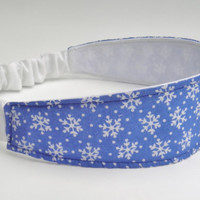 Snowflake Headband, Frozen Weather, Blue and White Fabric, Reversible Head Wrap, Icy Winter, Adult Headband, Soft Hairband, Ready to Ship