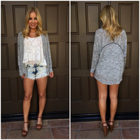 Full Of Lines Light Knit Cardigan in Grey