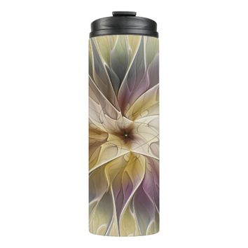 Floral Fantasy Gold Aubergine Abstract Fractal Art Thermal Tumbler