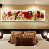 Stitch Rose Embroidery Floral Wall Decor