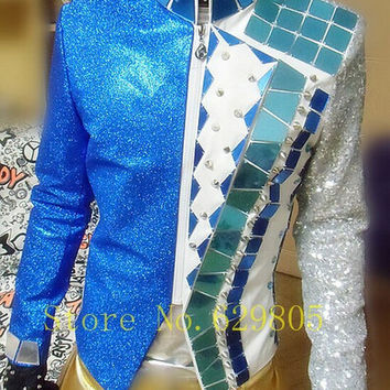 Customised Plus Size S-4XL Jacket Sequins Mirrors Costume Male Singer Dance Performance Outerwear Coat Suit Top Blazer Outfit