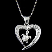 925 SILVER HAWAIIAN PLUMERIA SCROLL CZ HEART DANGLE HONU SEA TURTLE PENDANT
