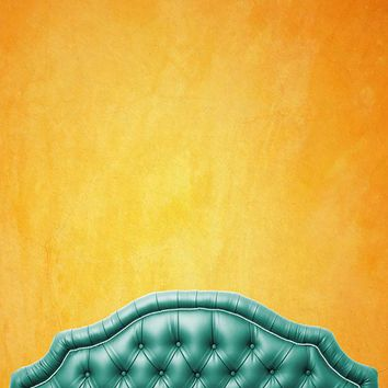 Green Bed Tufted Headboard With Sunset Wall Printed Backdrop - 6210