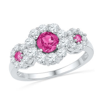 10k White Gold 1.75 ctw Diamond and Pink Sapphire 3 Stone Ring: Size 7 (Sizeable)