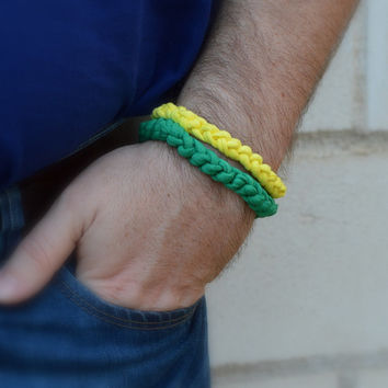 2 personalized mens bracelets yellow green. Mens Hawaii jewelry. Beach gift. Surfer boyfriend gift. Christmas gift idea for husband hippie