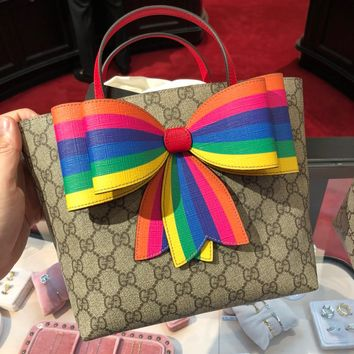 GUCCI Women / Girls GG Supreme rainbow bow tote