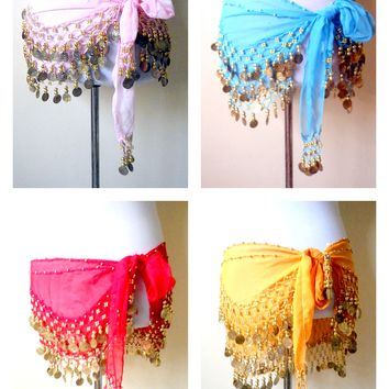 SALE! pink belly dance hip scarf with gold coins