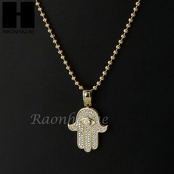 Iced Out Sterling Silver .925 AAA Lab Diamond Hamsa Hand 2.5mm Moon Cut Chain 38
