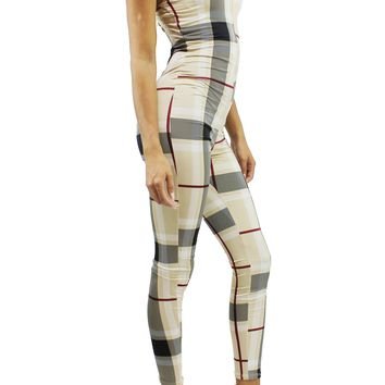 Beige Plaid Check Spaghetti Strap Front Zip Detail Skinny Leg Jumpsuit