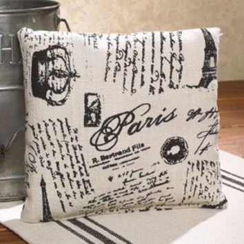 Paris French Script - French Flea Market Grainsack Small Accent Throw Pillow - 8-in x 8-in
