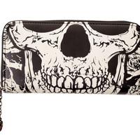 Banned Gothic Death Skull Face Glow in the Dark Zip Around Wallet