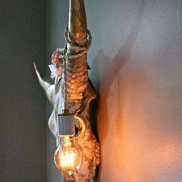 Taxidermy Bull Longhorn Skull Wall Light Sconce Bare Bulb Western Cowboy Cowgirl Kid's  Decor Rustic Hall Boho Gift Him Her-MySecretLite