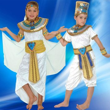 Boy Girl Ancient Egypt Egyptian Pharaoh Cleopatra Prince Princess Costume for Children Kids Halloween Cosplay Costumes Clothing