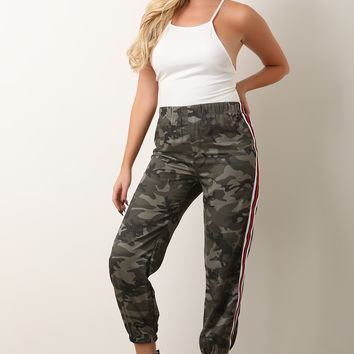 Striped Side Camo Jogger Pants