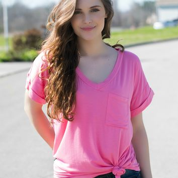 Pocket Tee- Candy Pink
