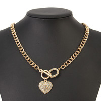 Heart Pendant Rhinestone Inlaid Gold Plated Chain Clavicle Necklaces