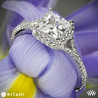 18k White Gold Ritani Bella Vita Split Halo Diamond Engagement Ring for Princess