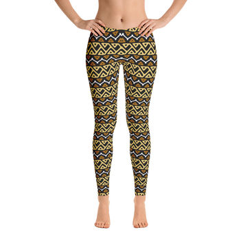 Africa Leggings for Women - Stylish Durable Novelty Leggings - Cut, Sewn, and Printed in California - Model 29045
