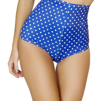 Blue and White Pinup Style High-Waisted Shorts
