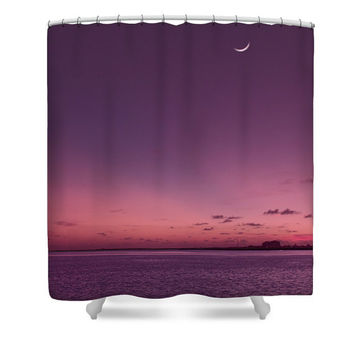 Purple shower curtain, purple bathroom decor, ocean shower curtain, tropical shower curtain, fabric shower curtain, tropical ocean, sunset