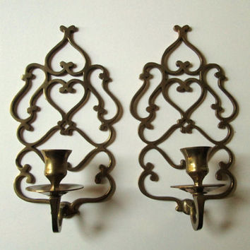 Wall Sconces Brass Candleholders set pair vintage 60s or 70s candle holders Mad Men decor wall hanging ornate filigree
