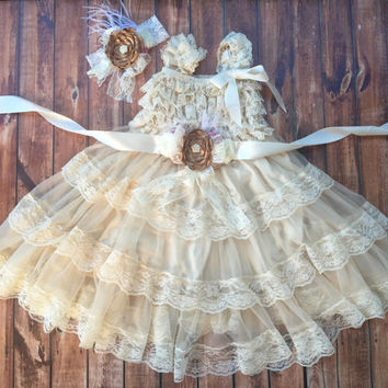 Flower girl dress, Vintage girl dress, champagne baby dress, cream lace flower dress, birthday, ivory flower girl, baby dress, lace dress