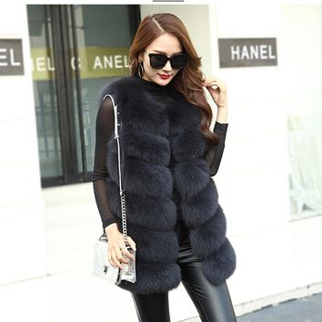 Women's full leather fur fox fur medium-long fur vest female outerwear fox fur vest