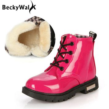 2016 New Winter Children Shoes PU Leather Waterproof Martin Boots Kids Snow Boots Girls Boys Rubber Boots Sport Sneakers CSH043