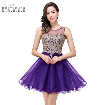 Vestido de festa curto Cheap A Line Sheer Neck Short Purple Homecoming Dresses 2017 Short Prom Dresses Cocktail Dresses