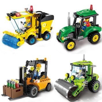 Brick City Series Construction Road Roller Forklift Truck Tractor Sweeper Truck Building Blocks Compatible Toys For Kids