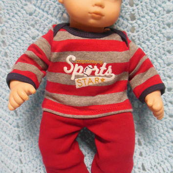 """American Girl Bitty Baby clothes Bitty Twins BOY """"Mommy's Sports Star"""" (15 inch)  playset top pants socks ball cap"""