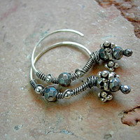Wire Wrapped Sterling Ear Hoops .Faceted Silver Glass Beads .Ethnic Style Earrings