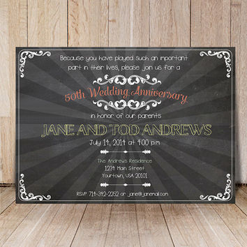 Chalkboard wedding anniversary invitations / Printable party invites / 50th anniversary invitation Custom milestone anniversary invite card