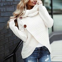 Long Sleeve Turtleneck Sweater Solid White Pullover Sweaters Fashion Women Jumpers