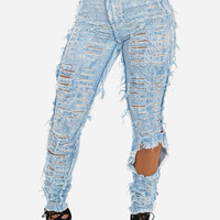 High Waist Skinny Ripped Light Acid Wash Jeans