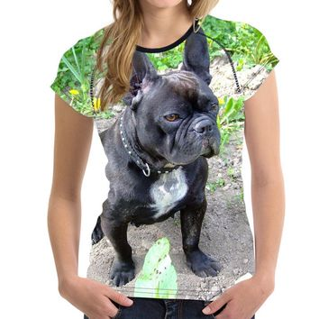 All Over Print French Bulldog T-Shirts - Women's Top Tee