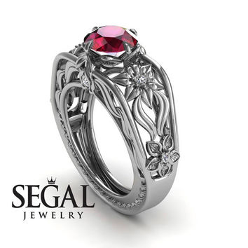 Unique Engagement Ring 14K White Gold Flowers Leafs Vintage Art Deco Ring Ruby With White diamond - Alexis