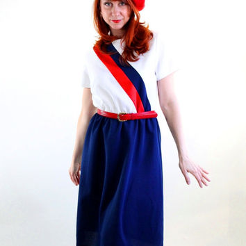 1970s Navy Blue White Red Stripes Nautical Dress. by gogovintage