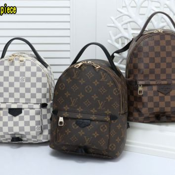 """""""LV"""" Louis Vuitton Casual Wild Retro Plaid Backpack Travel Backpack Bag All"""