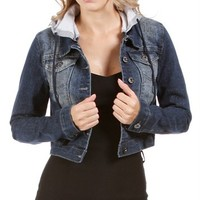 Dark Denim Long Sleeve Jacket With Hoodie