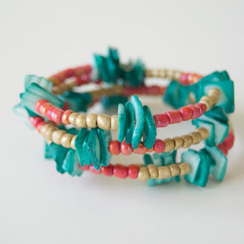 Stacked Memory Wire Bracelet - Ceramic Seed Beads and Dyed Shell - Pink and Teal