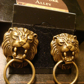 Antique Bronze Lion Head Door Knocker Steampunk Earrings (1456)