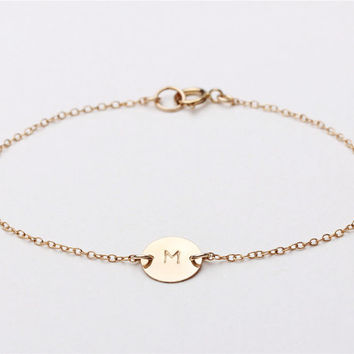 Blank or personalized Circle  - 14k gold filled monogram initial circle bracelet - everyday simple jewelry