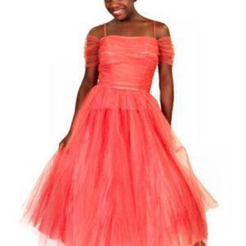 Vintage Classic Strapless Tulle Prom Party Gown Coral 1940S 34-28-Free
