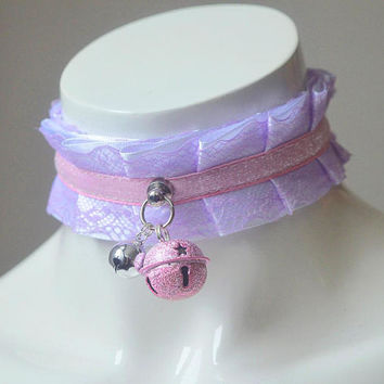 Kitten play collar - Candy glitter - pleated pastel kawaii choker with lace - kittenplay pet lolita daddy kink ddlg collar cosplay costume